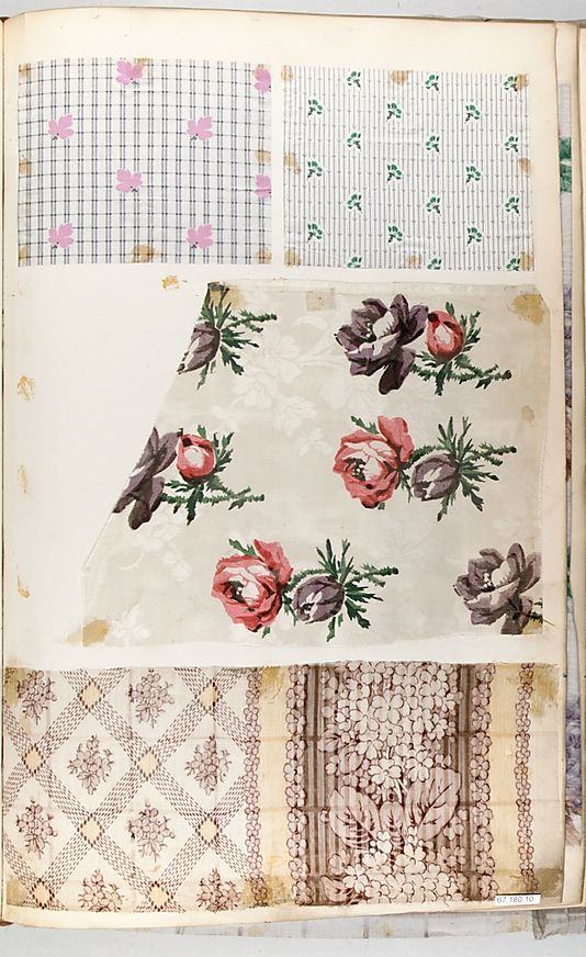 A sample book showing French textiles dating around the 1862 from the Metropolitan Museum of Art, via decor8