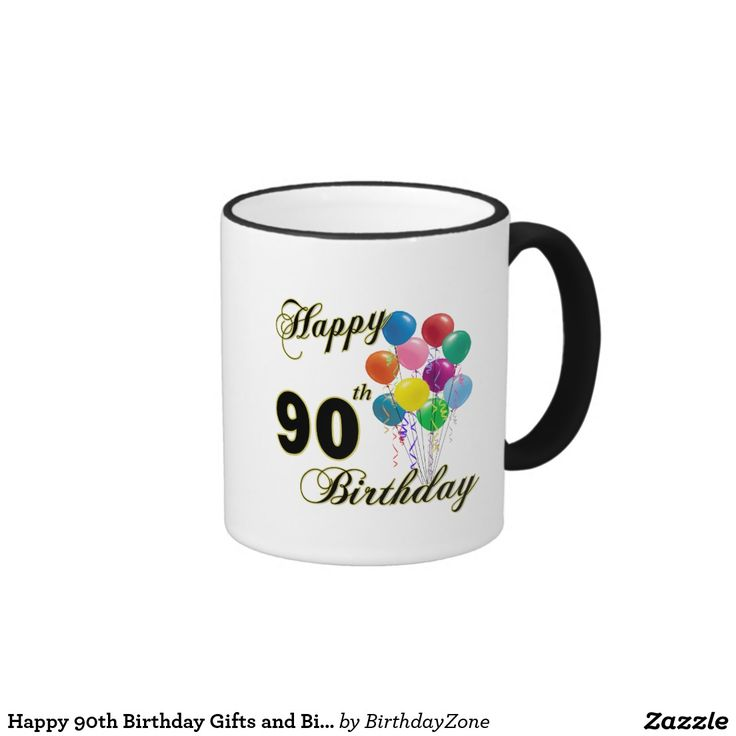 Happy 90th Birthday Gifts and Birthday Apparel Ringer Mug