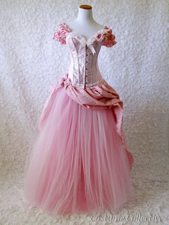 Corset Bustle Dress  pink and silver corset by CostumeCollective, $320.00  If I were three years old, I could skip into the grocery store in this and no one would think anything of it.