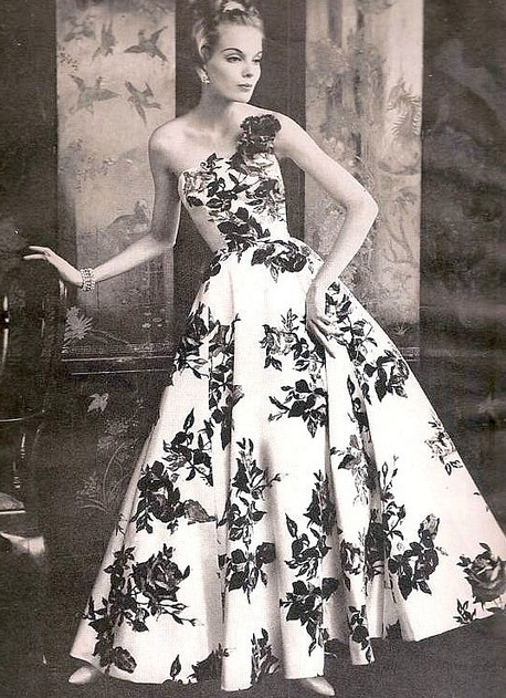 Strapless evening gown by Sophie for Saks Fifth Avenue, 1958