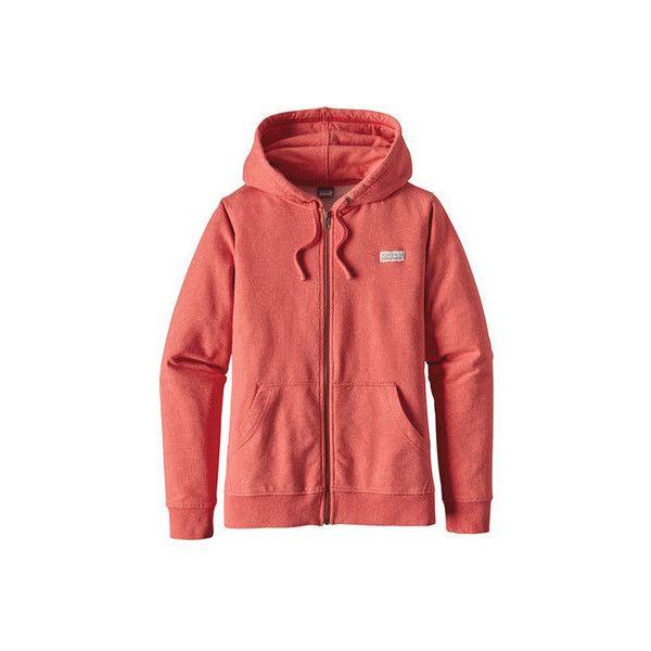Women's Patagonia Pastel P-6 Label Midweight Full-Zip Hoody ($99) ❤ liked on Polyvore featuring tops, hoodies, long sleeve shirts, full zip hoodies, red zip hoodie, long-sleeve shirt, red hoodie and red zip up hoodie