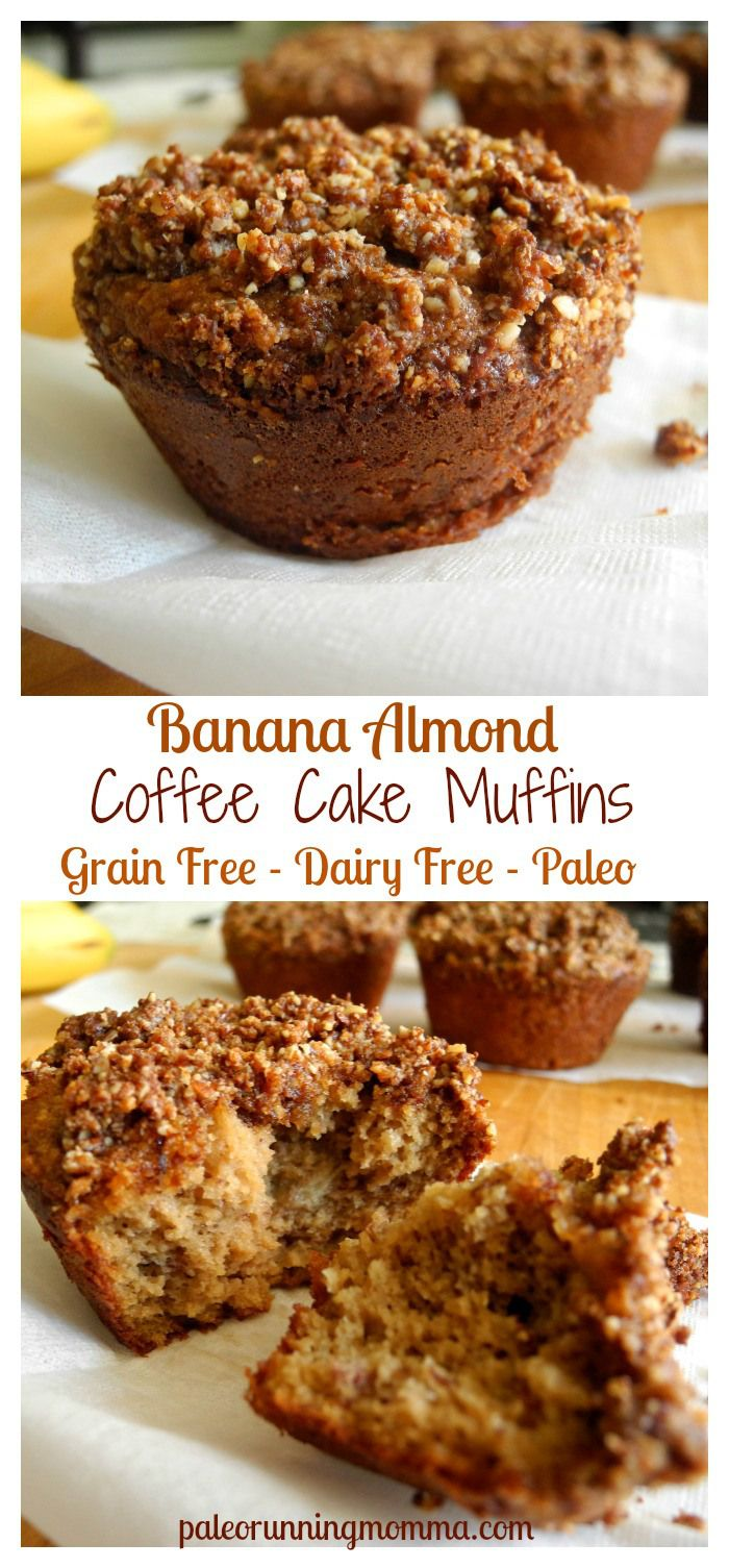 Banana Almond Coffee Cake Muffins - #grainfree #glutenfree #dairyfree #paleo