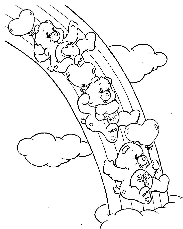 Rainbow Care Bears Coloring Page For Kids