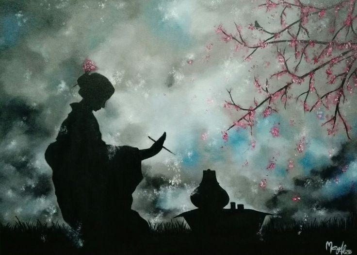 Geisha n°4  oil on canvas  art by MaryAlice