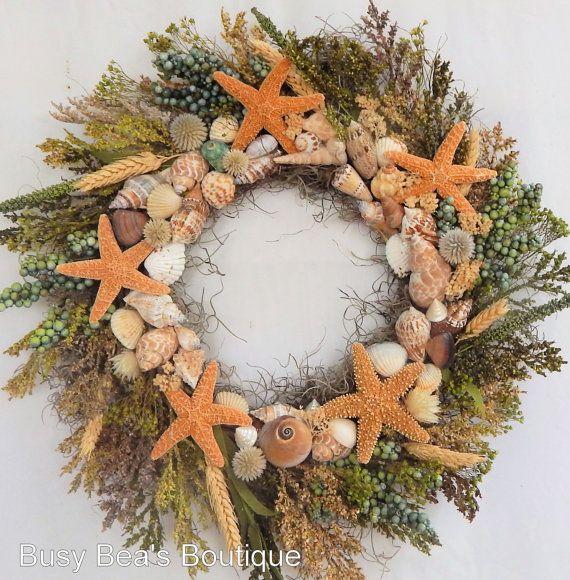 "Seashore Primitive Wreath""Dancing Starfish""Nautical Decor,Seashore Wreath w/Sugar Starfish,Shells,Seashell Wreath, Beach Wreath"
