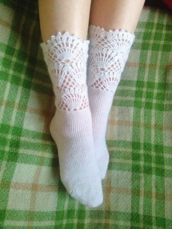 White Knitted Socks with Crochet Lace Decoration  by LoriYarns, $38.00