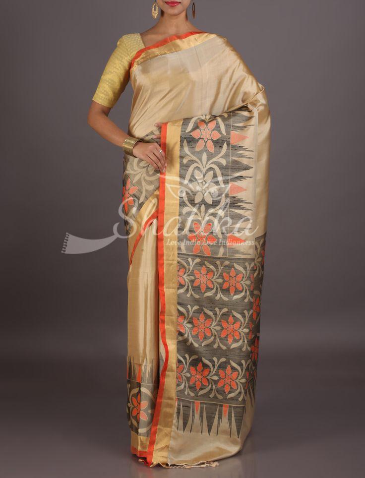 Urvashi Plain Grey With Pochampally Inspired Border Pallu Pure Mulberry Silk Saree