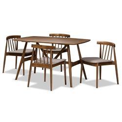 Best Baxton Studio Wyatt Mid Century Modern Walnut Wood 5 Piece 400 x 300