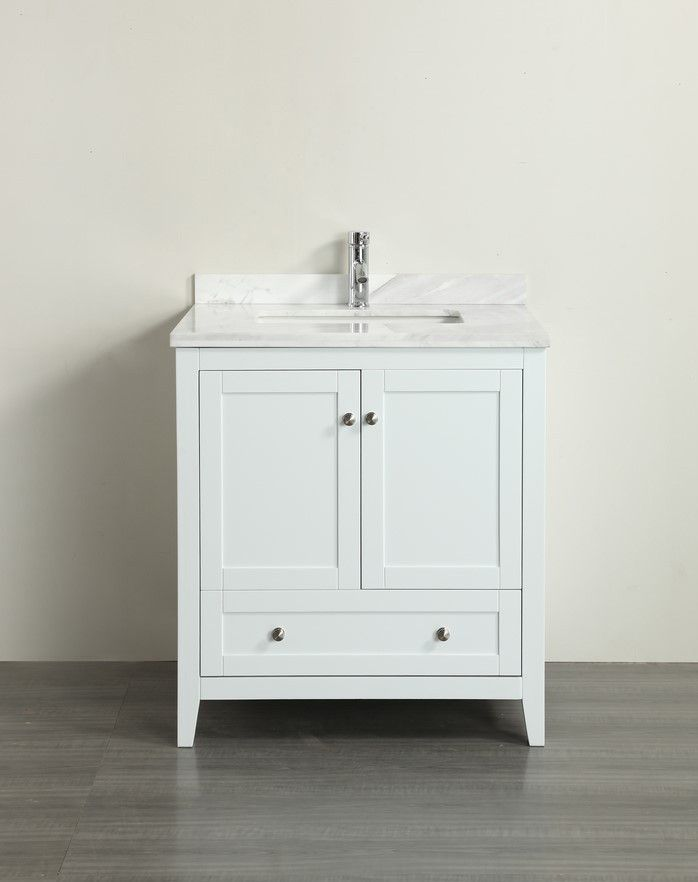 Classic 30 Inch White Bathroom Vanity With White Carrera Marble Top, Solid  Wood Construction, Soft Closing Doors U0026 Drawer, White Marble Carrera Top U0026  A ...