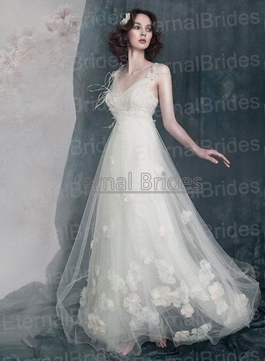 V-neckline Wide Straps with Flowers Feather Beaded  Empire WaistTulle Prom Dress/ Beach Wedding Dress/ white/ Red/ Ivory on Etsy, $339.77 AUD