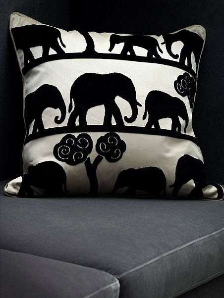 Jumbo/Ebony - lovely cut velvet fabric featuring our mascot, the Elephant. Available by the yard.