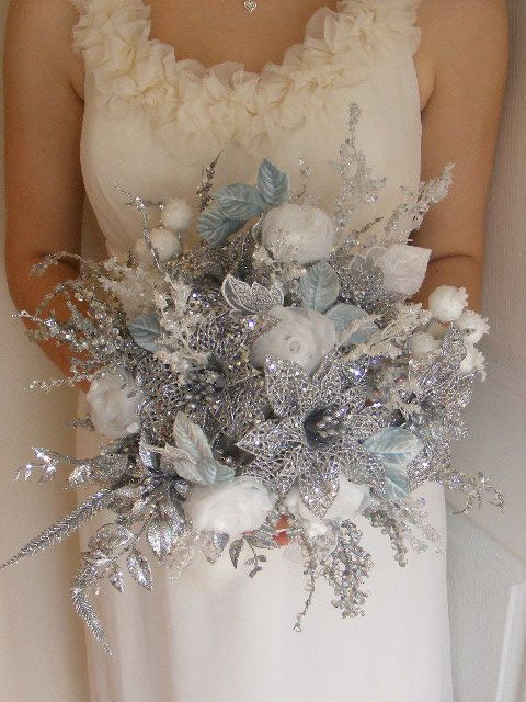 Beautiful Sparkly! Winter wedding!!! This might be too much for you, but your theme is winter wonderland.
