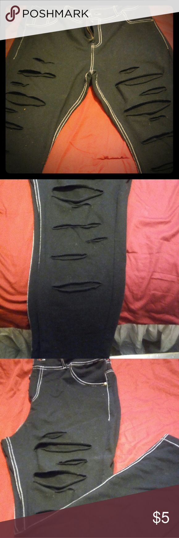 WOMEN'S JEGGINGS Women's Stressed Jeggings... Soft, Comfy Material that Accomodates Curves Very Nice! It Has White Stitching that Outlines The Pants! They Are A Size Large But Fits Like A Medium! Any Further Questions Feel Free To Ask!  Thanks For Browsing Through My Closet! Pants