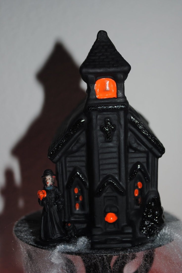 i saw this pin and i knew that i would be making my very own halloween village i bought several christmas village houses and