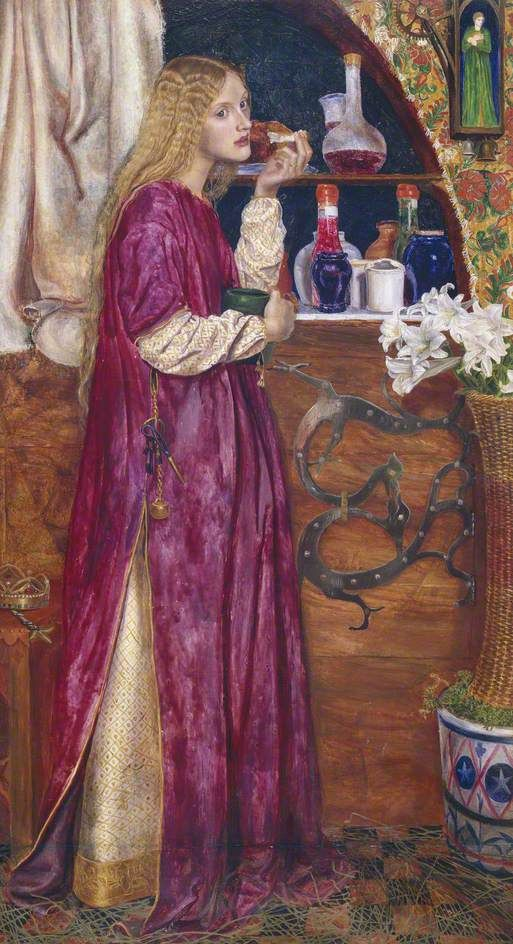 The Queen was in the Parlour, Eating Bread and Honey by Valentine Cameron Prinsep      Oil on panel, 59.6 x 33 cm