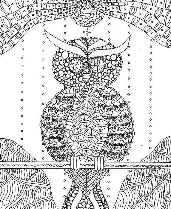Owl Coloring Page Adult Kids By Wordsremember