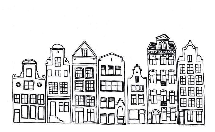 huisjes voor raamtekening. printen op 300 procent, staand