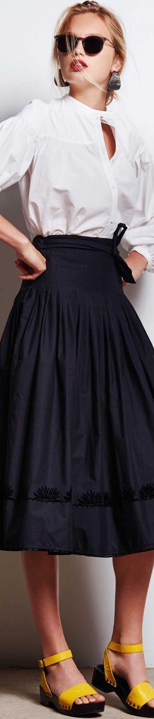 Tomas Maier Spring 2016 RTW white shirt, black skirt. women fashion outfit clothing style apparel @roressclothes closet ideas