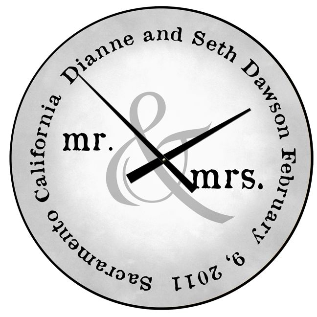 mr mrs clock includes the couples names wedding date and wedding location