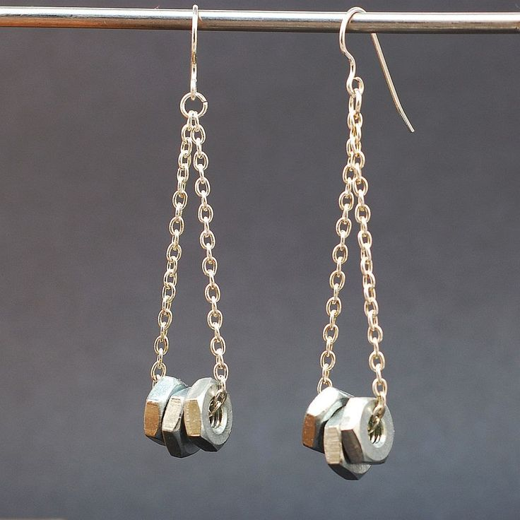 Hardware & Chain Earrings Silver Upcycled Found Object Jewelry. $18.00, via Etsy.