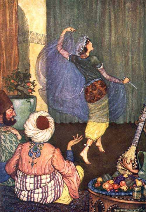 She drew the poniard, and holding it in her hand, began a dance - The Arabian Nights Entertainments, 1914