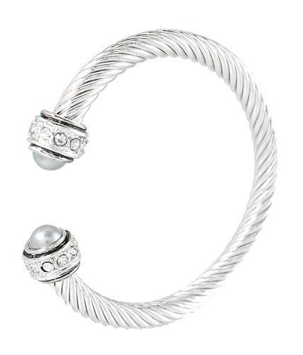 Silver Tone Designer-style Cable Rope Cuff Bracelet with Gray Pearl White Crystals Caps Cuff Bracelets. $19.95. Lead & Nickel Free. with Gray Pearl White Crystals Caps. Silver Tone Designer-style Cable Rope Cuff Bracelet