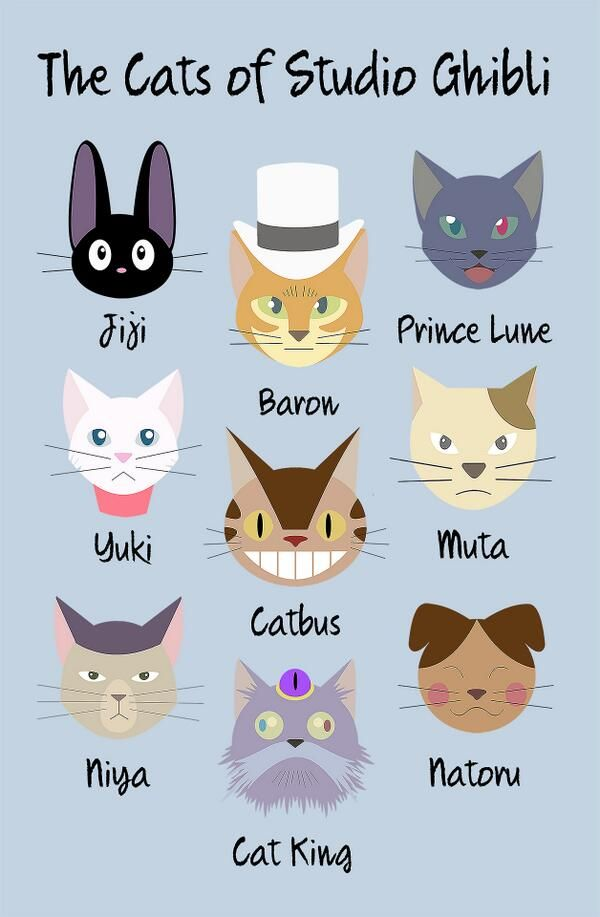 Kiki's Delivery Service: Jiji & Yuki The Cat Returns: Baron, Prince Lune, Muta, Natoru & Cat King My Neighbor Totoro: Catbus Arrietty: Niya Not included Whisper of the Heart: Moon
