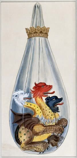 """A three headed monster in an alchemical flask, representing the composition of the alchemical philosopher's stone: Salt, Sulphur, and Mercury."" Watercolor painting from Salomon Trismosin's 'Splendor solis'."