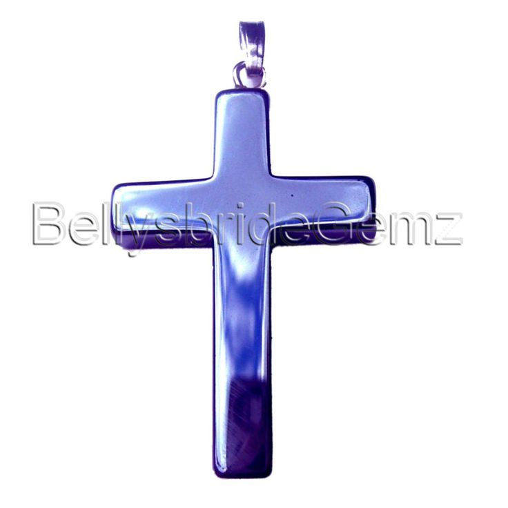 Hematite Cross Pendant with silver bail Black Goth Gothic Jewellery Haematite