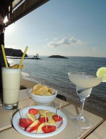 Margaritas on the beach at Francoise cafe in Almyrida, West Crete.