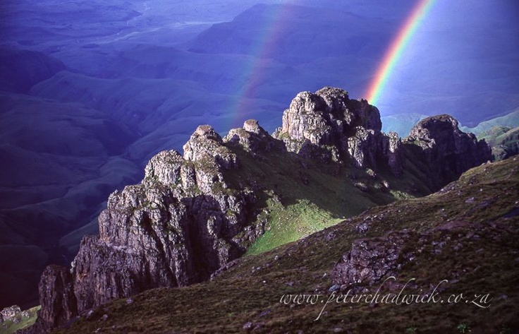 Double Rainbow Beauty in the Drakensberg at Cathedral Peak. Image by Peter Chadwick