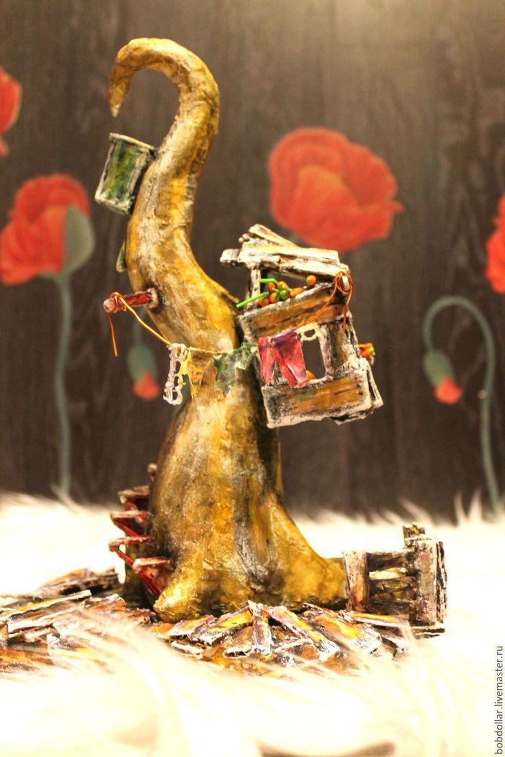 """Купить интерьерная композиция""""первый снег"""" - коричневый, дом на дереве, композиция для интерьера, интерьерная игрушка"""