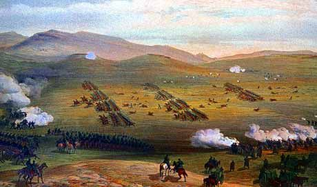 The Charge of the Light Brigade as seen from the Russian positions on the Fedioukine Hills