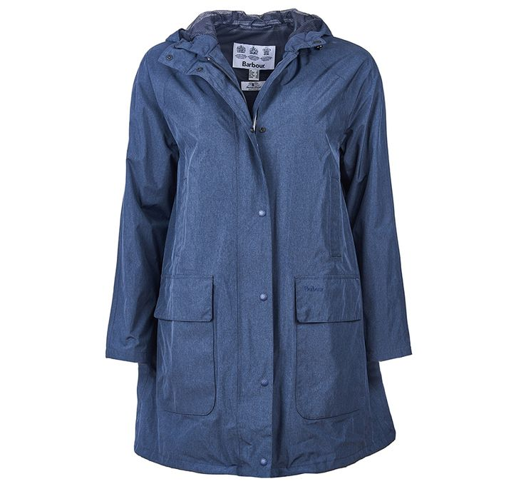 """Barbour Long Length Waterproof Hooded Bedale Jacket, Navy Marl / £249 / 63% polyamide, 37% polester, front zip and storm guard with plastic lightweight stud fastenings, drawcord at hem, back length 32.5-35.5"""" / This waterproof version of the classic Barbour Bedale gives the signature look a modern twist with an A-line silhouette and oversized pockets.  The longer length, fixed hood and lightweight feel makes it perfect for wet summer days."""