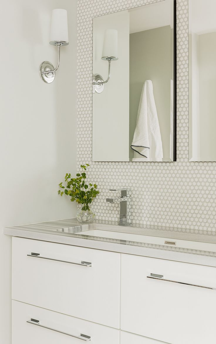Custom Shallow Vanity With Trough Sink And Deep Drawers Penny Tiles Backsplash