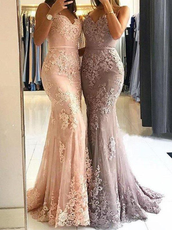 721a92d21ce Sheath Mermaid Spaghetti Straps Sleeveless Sweep Train Prom Dresses Lace  Applique Evening Gowns