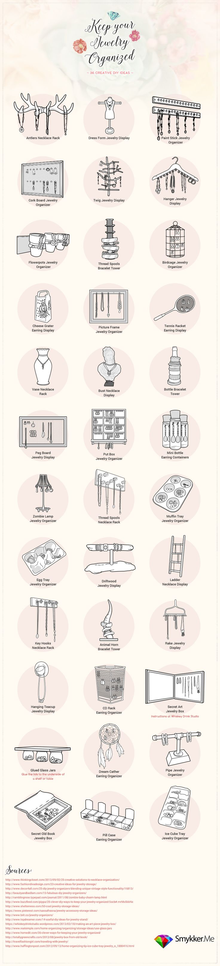 36 Creative Ways to Organize Jewelry - most of these can be done with things I already have around the house! @Remodelaholic