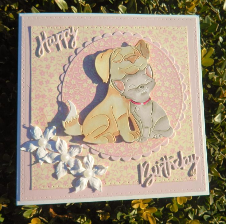 cute critter cards : Tattered Lace kitten cuddles