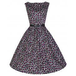 'Audrey' Purple Leopard Print 50's Inspired Swing/Jive Dress
