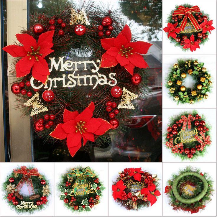 30cm Christmas Decoration Wreath Christmas Ornaments Garland Xmas Door Decor