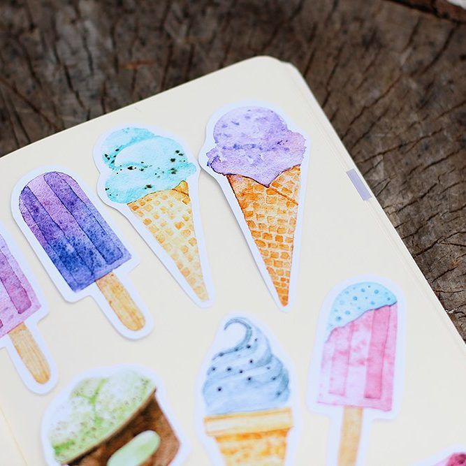 Ice creame, watercolor, sticker, #stickerrisha