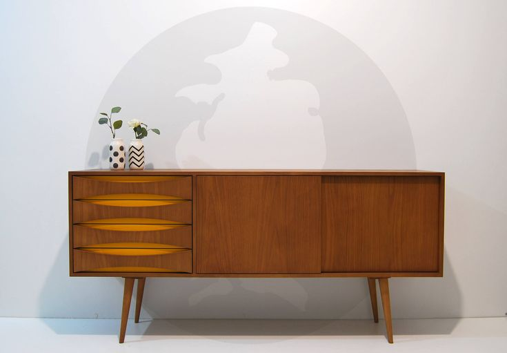 Sideboard Modern Mid Century / Living Room Furniture / Media Console with drawers and sliding doors / Vinyl Storage Unit / Scandinavian by MoutinhoStore on Etsy