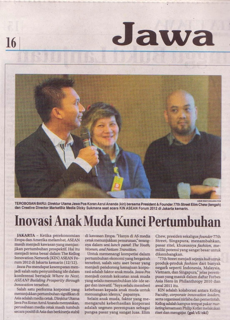 Sharing at Kellogg Innovation Network KIN Jakarta out on Jawa Pos ! A great Sharing platform & network . Am Inspired by KIN Network !  @hermawank  @markplus #77thstreetcom