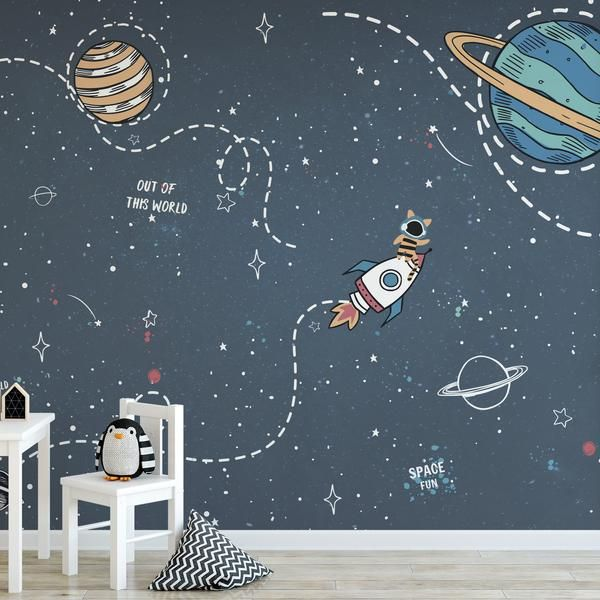 Self Adhesive Peel And Stick Kids Wallpaper Removable Space Etsy In 2021 Kids Room Murals Kids Room Wall Murals Kids Wall Murals