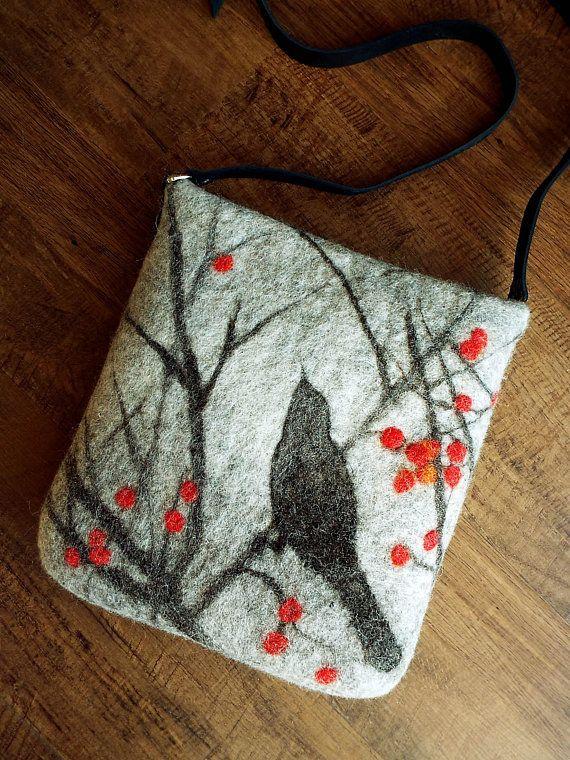 Spring graphics Felted bag Crossbody bag Shoulder Bag Shoulder Messenger Bag Boho Hobo