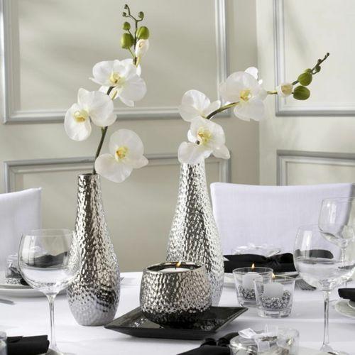 Orchideen Tisch Deko Edel Weiss Silber Vasen