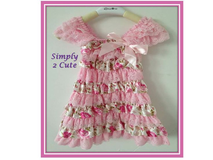 'LOTTA' - Satin and lace ruffle dress with cap lace sleeves. Dress is made of stretchy material. Length from shoulder to hem is 50cm. Suitable to fit 3-5 year olds.