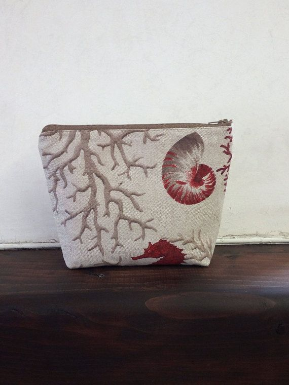 Makeup case for cosmetics with zip/Made to Order/Makeup bag ecru with red print nautical.