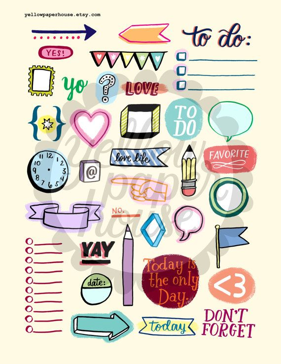 A bunch of printable illustrated doodles on an 8.5x11 inch sheet, for organization, planners, filofax, journals, etc.! Print these on sticker paper, and cut out to easily stick anywhere! Print as many times as you like.  * JPG or PDF file * 8.5 x 11 sheet 300 dpi for easy and sharp printing * This is a instant digital download, which means you will not receive a physical product. * depending on your monitor and printer, some colors may vary slightly   USAGE * You may use files for personal…