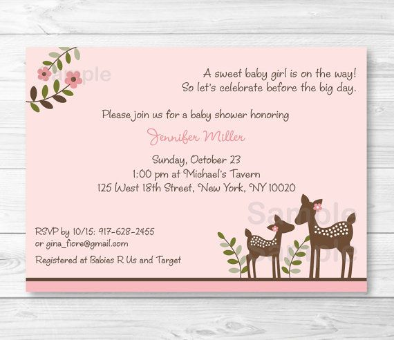 Pink Deer Baby Shower Invitation / Deer Baby Shower Invite / Deer Baby  Shower / Woodland Baby Shower / Baby Girl Shower / PRINTABLE